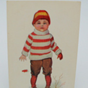 "Postcard Little Boy  ""My First Skate"""