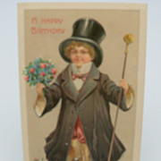 "Embossed Postcard ""A Happy Birthday"""