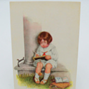 "Artist Signed Grimball Postcard ""Little Boy Doing Homework"""