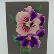 Raised Silk Purple Flowers Postcard