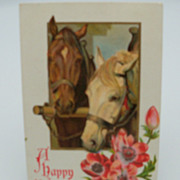"Embossed New Year Postcard  ""Pair of Horse"""