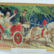 Embossed Victorian Carriage Scene Postcard