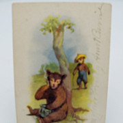 Bear Smoking and Eating Honey Postcard