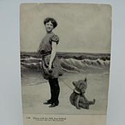Bathing Beauty Postcard with Little Bear