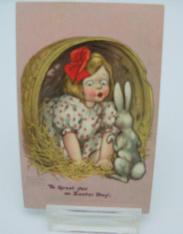 "Katharine Gassasway Easter Postcard ""Little Girl with Bunny"""