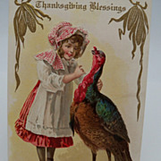 Thanksgiving Postcard Victorian Girl with Standing Turkey