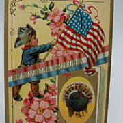 Embossed Thanksgiving Postcard with Patriotic Theme