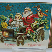 Postcard Santa in a Car with Toys and Tot