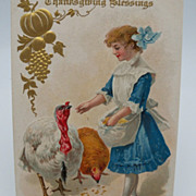 Postcard &quot;Thanksgiving Blessing&quot; Girl feeding Turkey