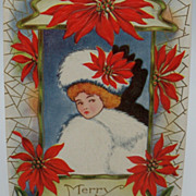 Embossed Christmas Postcard with Beautiful Lady Surrounded by Poinsettias