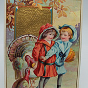 Thanksgiving Postcard Children and Turkeys