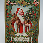 Embossed Santa Postcard with Holly Border