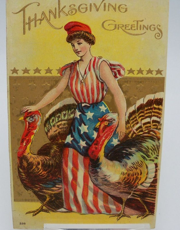 Thanksgiving Postcard Lady Liberty with Two Turkeys