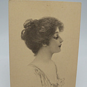 Beautiful Lady on Cream Colored Postcard