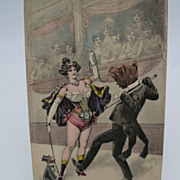 SALE PENDING Circus Postcard with Beautiful Lady, Dancing Bear and Tuxedo Monkey