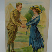 Unsigned Archie Gunn WWI Postcard Soldier Leaving Girlfriend