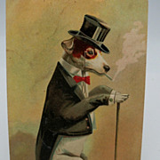 SOLD Tuxedo Dressed Smoking Dog Postcard