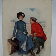 Underwood Signed Courting Couple Postcard