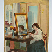 Comic Postcard Woman at Dressing Table