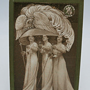 Postcard Gigantic Edwardian  Plumed Hat with Three Ladies
