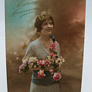 Photograph Postcard Lady with Bouquet