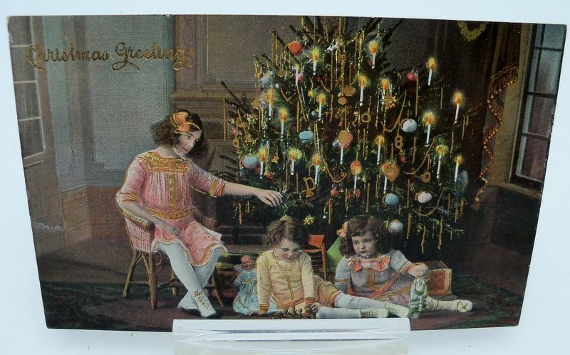 Christmas Postcard Staged Photograph Children with Presents and Tree
