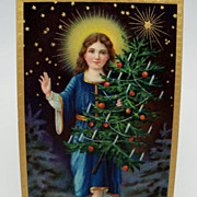 Angel Postcard Holding a Christmas Tree