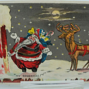Christmas Postcard with Round Santa and Slim Reindeer