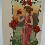 Art Nouveau Woman in a pastoral setting postcard