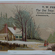 "Advertising Trade Card ""Winter Scene"" Clothier"