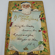 Embossed Christmas Postcard Santa with a Note