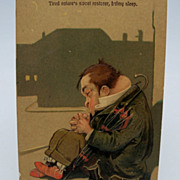 Embossed Postcard Showing a Man Taking a Nap