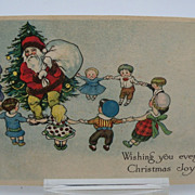 "Christmas Postcard Santa with Children ""Ring Around A Rosey"""