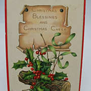 Tuck's Christmas Postcard 'Holly'