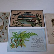 Three New Year's Postcards and One Card Godey's Supplement
