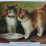 Tuck's Birthday Postcard Two Cat and Empty Milk Plate