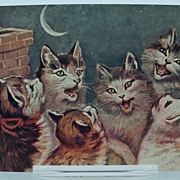 Postcard Cats Howling to the Moon