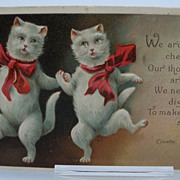 Embossed Postcard with Dancing White Cats with Bows