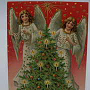 SOLD Christmas Postcard with Angels and Christmas Tree