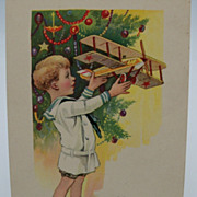 Christmas Postcard Little Boy with Airplane
