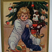 Artist Signed Marion Miller Child Checking Out Christmas Stocking