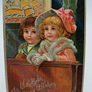 SOLD Christmas Postcard Two Children Praying in Church