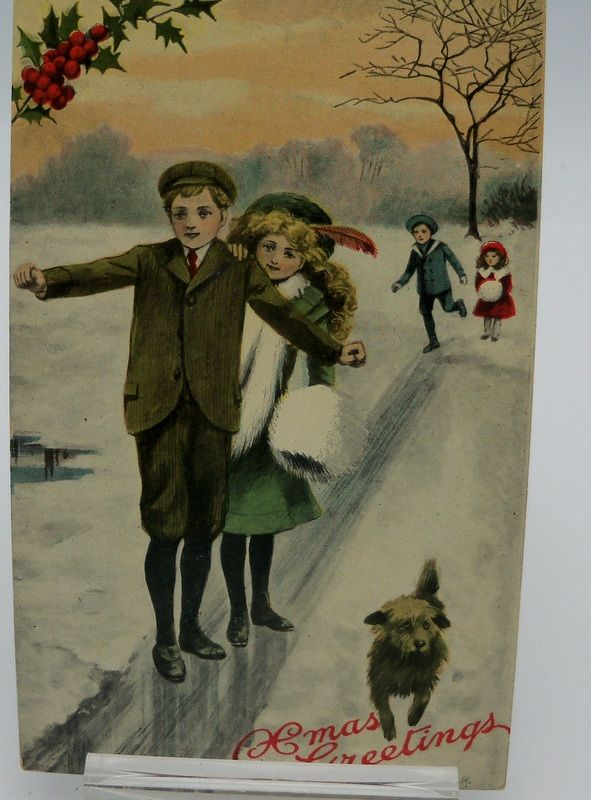 Glossy Christmas Postcard Children Walking in Snow