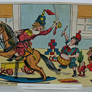 Christmas Postcard Children Playing with Toys