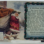 Santa Postcard 1910 December Advertising State Bank