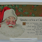 Embossed Santa Postcard &quot;Thinking of You&quot;