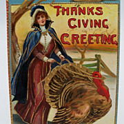 Thanksgiving Postcard Victorian Lady Guiding Tom Turkey
