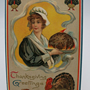 Thanksgiving Postcard Colonial Lady Holding Turkey