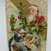 Embossed Santa Postcard with Nanny and Child
