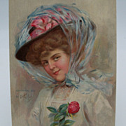 "Keifer Signed Postcard Elegant Lady Wearing Big Hat ""Good Bye"""